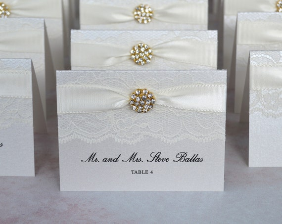 Gold Crystal Button Place Cards - Ivory Lace Escort Cards - Elegant Table Cards - Ivory or White Lace with Satin Ribbon and Crystal Button