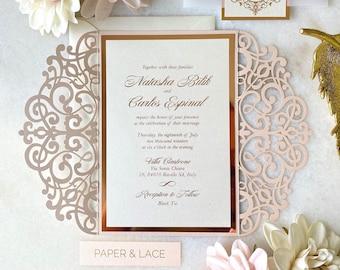 NATASHA - Blush Pink Shimmer Laser Cut Wedding Invitation with Rose Gold Foil Stamp Printing on Ivory Shimmer Card Stock - Vellum Belly Band