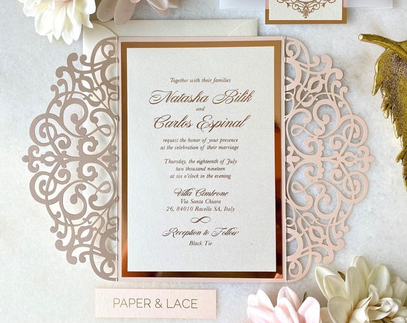 NATASHA - Blush Pink Shimmer Laser Cut Wedding Invitation with Rose Gold Foil Stamp Printing on Ivory Shimmer Card Stock - Vellum Belly Band