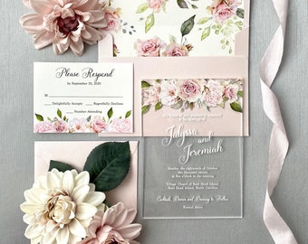 JALYSSA Acrylic Wedding Invitation - Clear Invitation with Blush Pink Flowers and White Ink- Thick Card Stock Envelope with Floral Liner