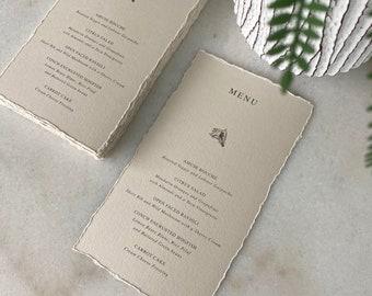 Conch Shell Wedding Menu with Deckled Edges - Mist Card Stock with Hand Torn Edges- Custom Menu in Beige - Khaki - Sand - Dinner Menu Card