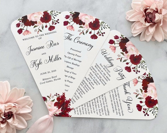 4 Petal Fan Program in White with Burgundy and Blush Flowers and Faux Silk Ribbon in Pink - Wedding Program for Outdoor Ceremony