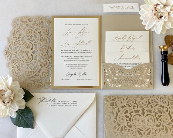 LIA Trifold Laser Cut Pocket Invitation - Champagne Laser Cut Wedding Invitation Suite with Pocket, Gold Foil and Black Digital Printing