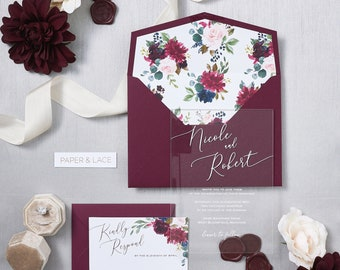 NICOLE Acrylic Wedding Invitation - Clear Acrylic Invitation with White Ink, Burgundy and Blush Flowers and Thick Wine Card Stock Envelopes