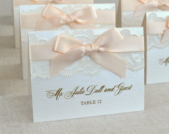 Peach Blush Bow Lace Place Cards - Ivory Lace Escort Card - Custom Place cards for Weddings, Sweet 16s, Quinceañeras, Bridal Showers