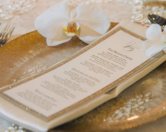25 Pack of Glitter Menus - Gold Glitter Wedding Menu - Vertical Menu - Triple Layered Menu with Gold Glitter Border