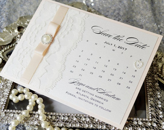 CALENDAR Save The Date - Ivory and Blush Save the Date with Ivory Lace, Blush Ribbon, Pearl Button and Pearl Heart - Custom colors available