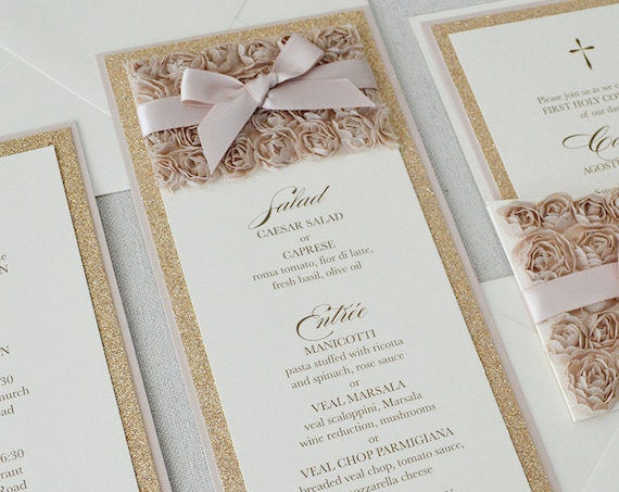 25 Pack of Rosette Menus - Champagne Rosette Menu - Rose Gold Glitter Menu- Blush Menu - Vertical Menu