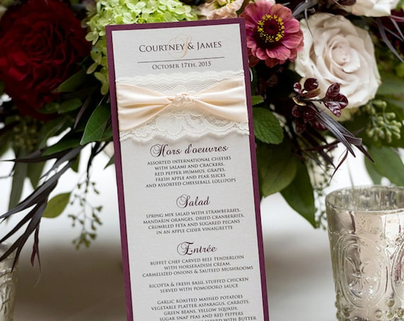 25 Pack of Blush and Gold Wedding Menu - Ivory Lace Wedding Menu - Vintage Menu - Couture Wedding Menu - Vertical Long Menu  (THE KNOT MENU)