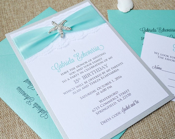 STARFISH - Beachy Sweet 16 / Quince Invitation - Silver Starfish Brooch with White Lace and Aqua Ribbon - Custom Colors Available