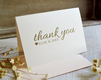 personalized thank you cards ivory shimmer custom thank you notes blank inside wedding bridal shower many colors available - Personalized Thank You Cards