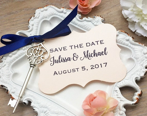 Vintage Key Save the Dates - Silver Skeleton Key Save-the-Date - Blush Tag with Navy Satin Ribbon - Navy and Blush Save the Dates