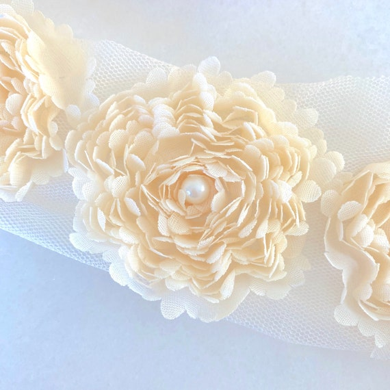 Cream Chiffon Flower with Pearl Center - Chiffon Fabric Flowers on Mesh - DIY Ruffled Flower Trim in Cream Ivory for Wedding Decor