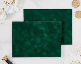 Emerald Green Velvet Envelopes - A7 or A9 Euro Flap Envelopes - Suede Envelopes - Wedding Invitation Envelopes - Inner Envelope