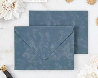 French Blue Velvet Envelopes - A7 or A9 Euro Flap Envelopes - Suede Envelopes - Wedding Invitation Envelopes - Inner Envelope