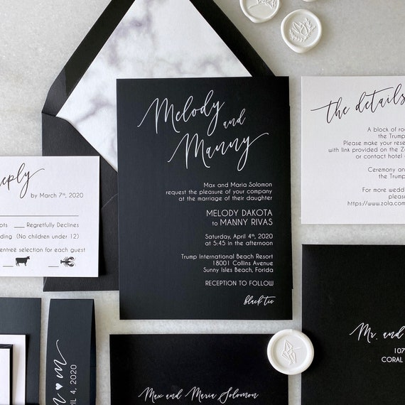 MELODY- White Ink on Black Wedding Invitation - Modern Wedding Invite with Marble Envelope Liner - Black and White Wedding Invitation Suite