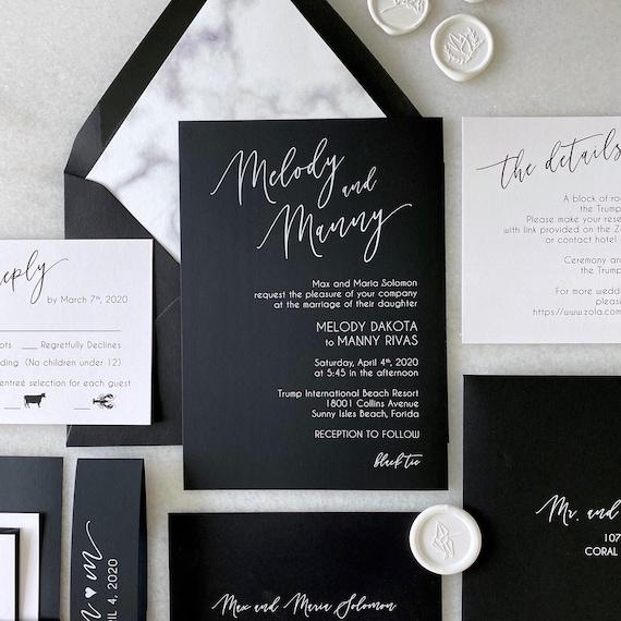 MELODY- White Ink on Black Wedding Invitation - Modern Wedding Invite with Marble Envelope Liner - Black and White Wedding Invitation Suite