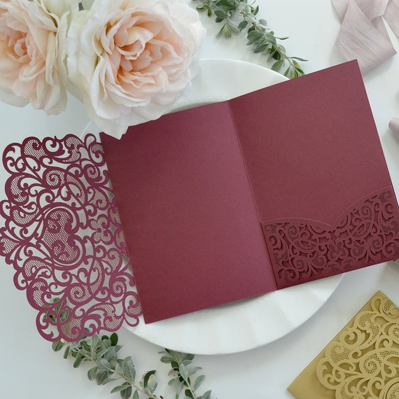 DIY Lace Heart Laser Cut Trifold Pocket Invitation - Laser Cut Wedding Invitation - Laser Cut Lace - Do It Yourself Pocket Invitation