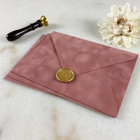 DUSTY ROSE - Velvet Envelope - Suede Envelope - A7 Euro Flap Envelope - Wedding Invitation Envelope