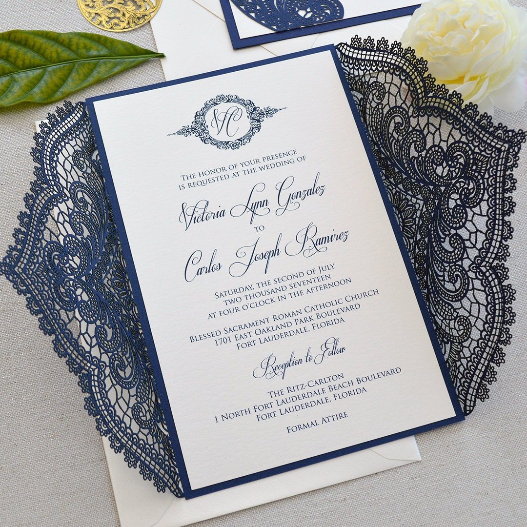 Navy Chantilly Lace Laser Cut Wrap Invitation Navy Laser Cut