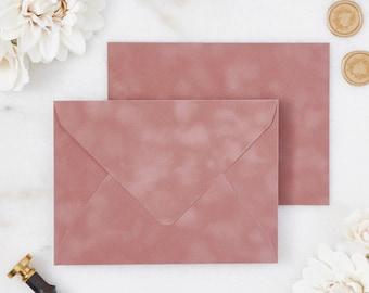Dusty Rose Velvet Envelopes - A7 or A9 Euro Flap Envelopes - Suede Envelopes - Wedding Invitation Envelopes - Inner Envelope