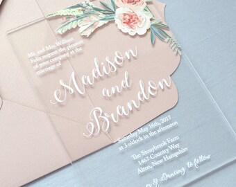 MADISON Acrylic Wedding Invitation - Clear Acrylic Invitation with White Ink and Flowers - Thick Card Stock Envelopes