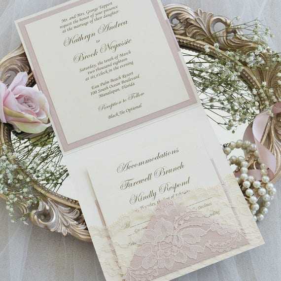 KATHRYN - Lace Pocket Wedding Invitation- Pink Blush and Ivory Lace Invite with Handmade Lace Pocket - Lace Wedding Invitation Suite