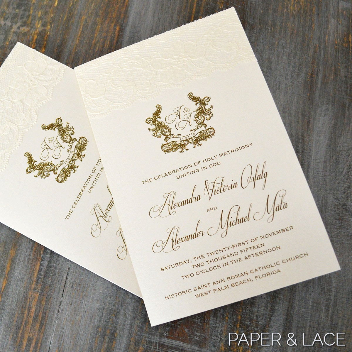lace wedding program ivory and gold wedding program church