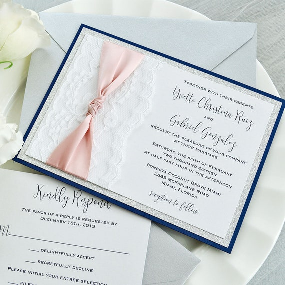 YVETTE - White Lace Wedding Invitation with Silver Glitter and Blush Pink Satin Ribbon Knot - Custom Colors Available