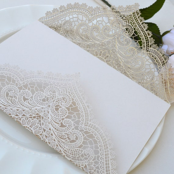DIY Chantilly Lace Laser Cut Gatefold - Do It Yourself Laser Cut Wrap -Laser Cut Wedding Invitation -Size A9 - Oversized Laser Cut Gatefold