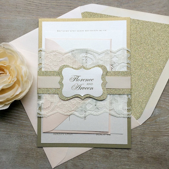 FLORENCE - Blush and Gold Lace Wedding Invitation - Ivory Lace Wrap and Gold Glitter Belly Band, Blush Accents and Gold Glitter Liners