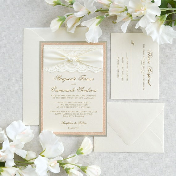 MARGUERITE - Ivory Lace Wedding Invitation with Rose Gold Glitter and Ivory Satin Ribbon Knot - Custom Colors Available