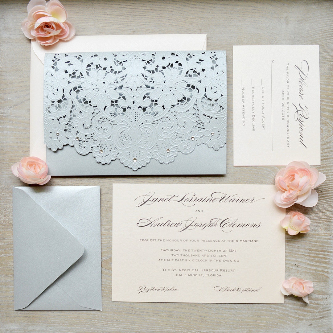 JANET - Blush and Silver Laser Cut Wedding Invitation - Silver ...