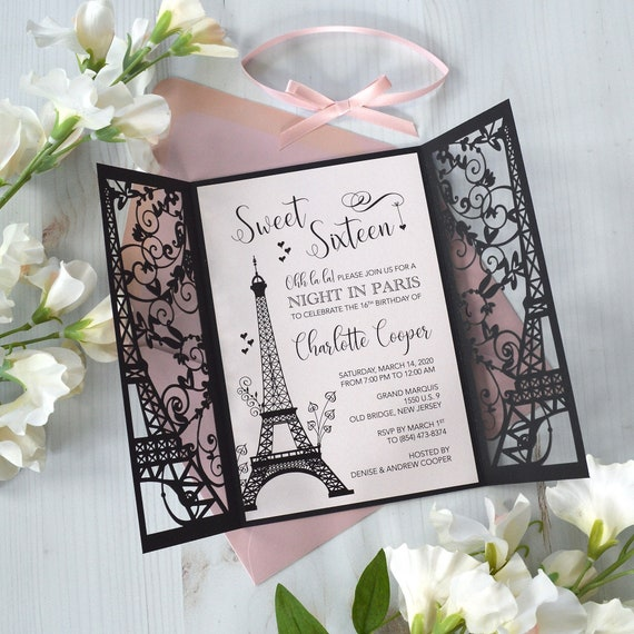 PARIS Laser Cut Sweet 16 Invitation - Black Eiffel Tower Laser Cut Gatefold Invitation with Pink Blush Card Stock and Ribbon - Quinceañera