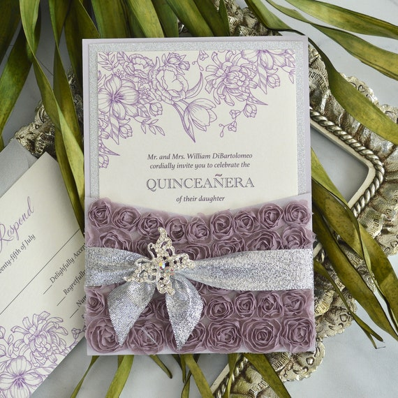 ROSETTE Pocket Quinceañera Invitation - Lavender Rosette Pocket Invitation with Silver Glitter Border & Ribbon- Butterfly Buckle - Sweet 16