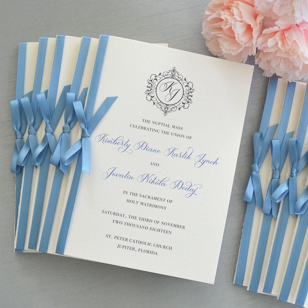 Wedding Program With Satin Ribbon Bow