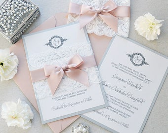 SUZANNE - Lace Wedding Invitation - White and Silver Shimmer Card Stock with White Lace Wrap and Blush Satin Ribbon - White Lace Belly Band