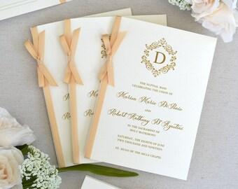 Wedding Program with Honey Satin Ribbon Bow - Ivory Wedding Program - Church Program - Folding Program - Custom Wording & Colors