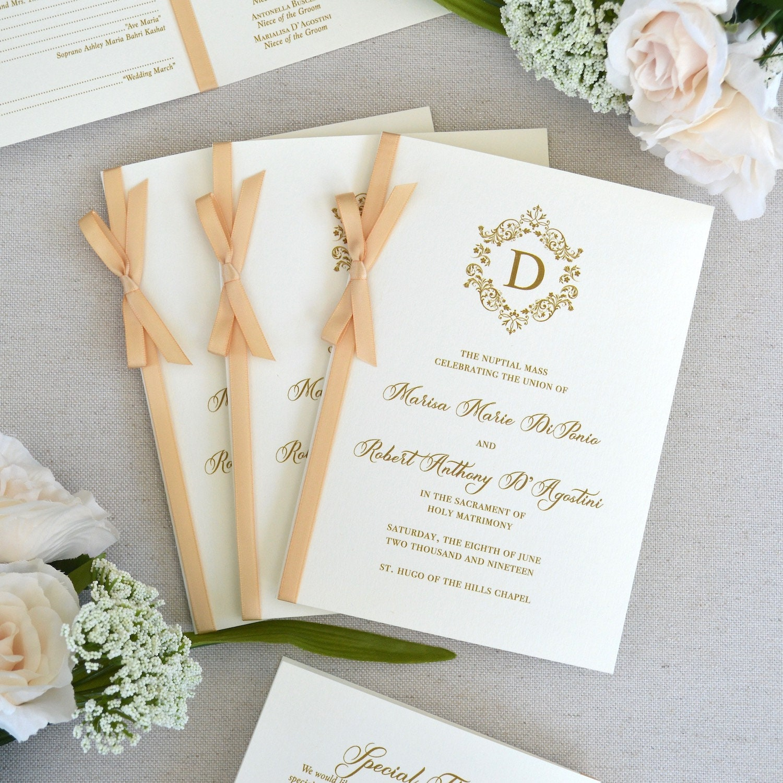 Wedding Program With Honey Satin Ribbon Bow
