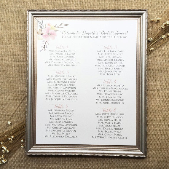 Seating Chart for Wedding, Bridal Shower or Special Event - Ivory Shimmer Card Stock with Blush Pink Accents and Flowers
