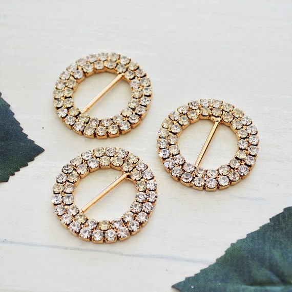 Gold Double Round Rhinestone Buckles for Invitations or Decoration with 15mm bar