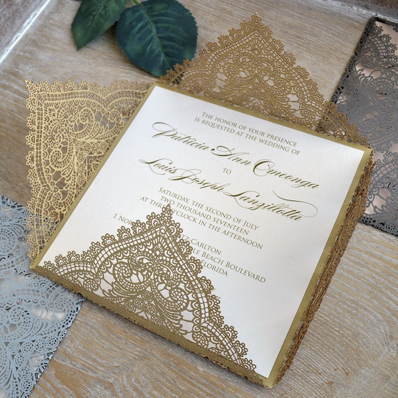 Gold Chantilly Lace Laser Cut Wrap Invitation Gold Square Etsy