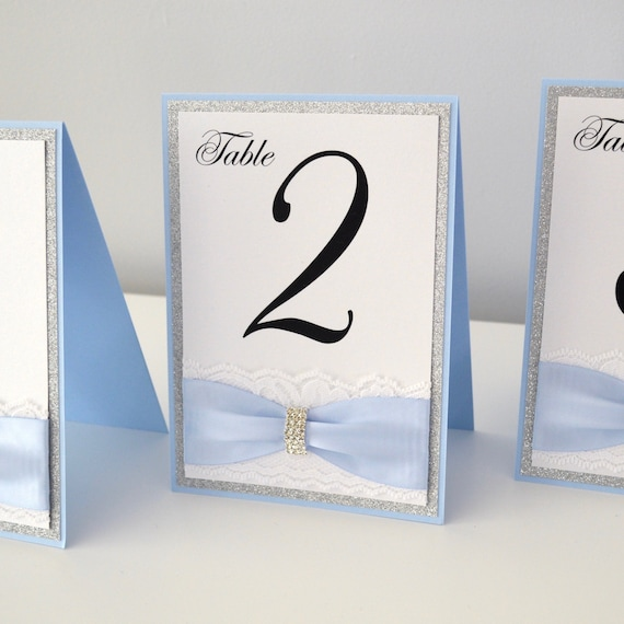 Blue and White Lace Table Number- Tented Table Number with Lace, Silver Glitter, and Silver Rhinestone Buckle - Baby Shower, Wedding