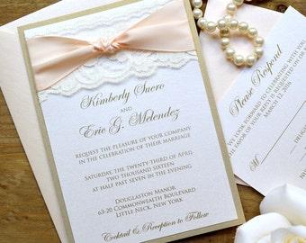 THE KNOT - Blush and Gold Wedding Invitation - Classic Lace Wedding Invitation - Ivory Lace with Pale Peach Ribbon