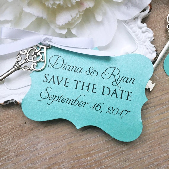 Vintage Key Save the Dates - Silver Skeleton Key Save-the-Date - Aqua Tag with White Satin Ribbon - Turquoise Save the Dates