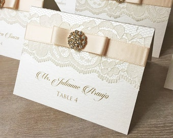 Gold Crystal Button Place Cards - Blush and Gold Lace Escort Cards - Vintage Table Cards - Ivory or White Lace with Bow and Crystal Button