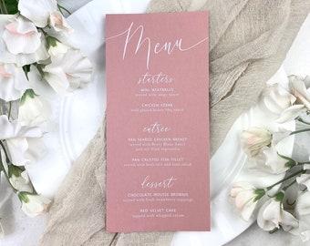 Blush Wedding Menu - White Ink on Dusty Rose Card Stock - Custom Menu - Dinner Menu Card