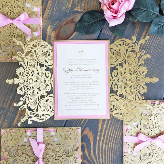 KHLOE - Gold Laser Cut Baptism Invitation with Pink Border and Pink Satin Ribbon Bow - Elegant Laser Cut Invite - Custom Colors