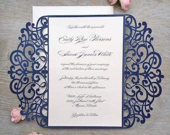 EMILY - Navy and Blush Laser Cut Wedding Invitation - Glittering Navy Laser Cut Gatefold invite with Peach Blush Insert and Ribbon