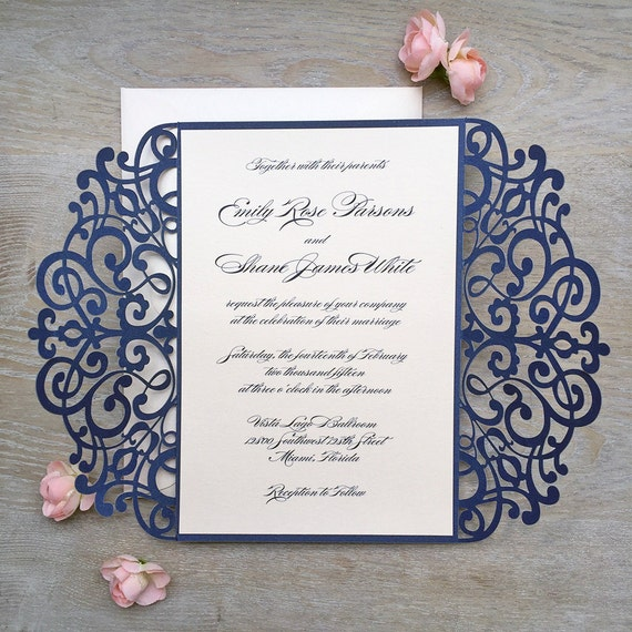 EMILY - Navy and Blush Laser Cut Wedding Invitation - Glittering Navy Laser Cut Gatefold invite with Peach Blush Insert and Ribbon